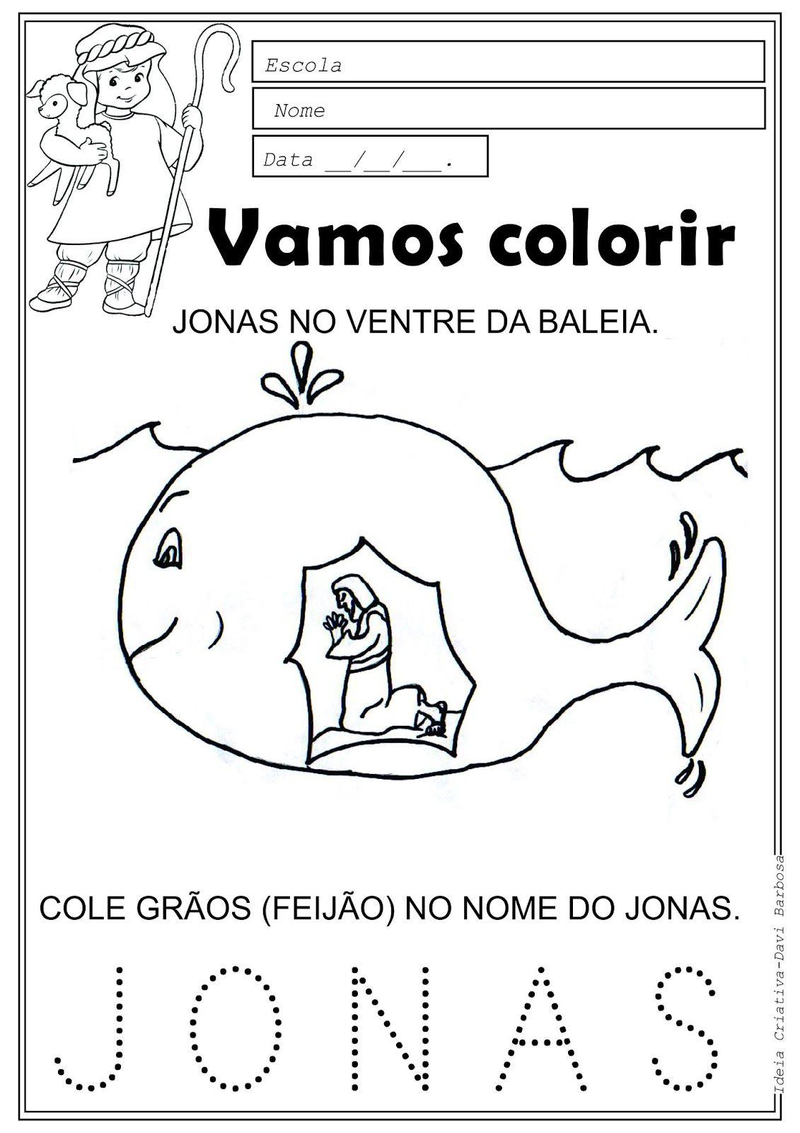 Amiguinhos de Jesus: Desenho de Jonas no ventre da baleia para ...
