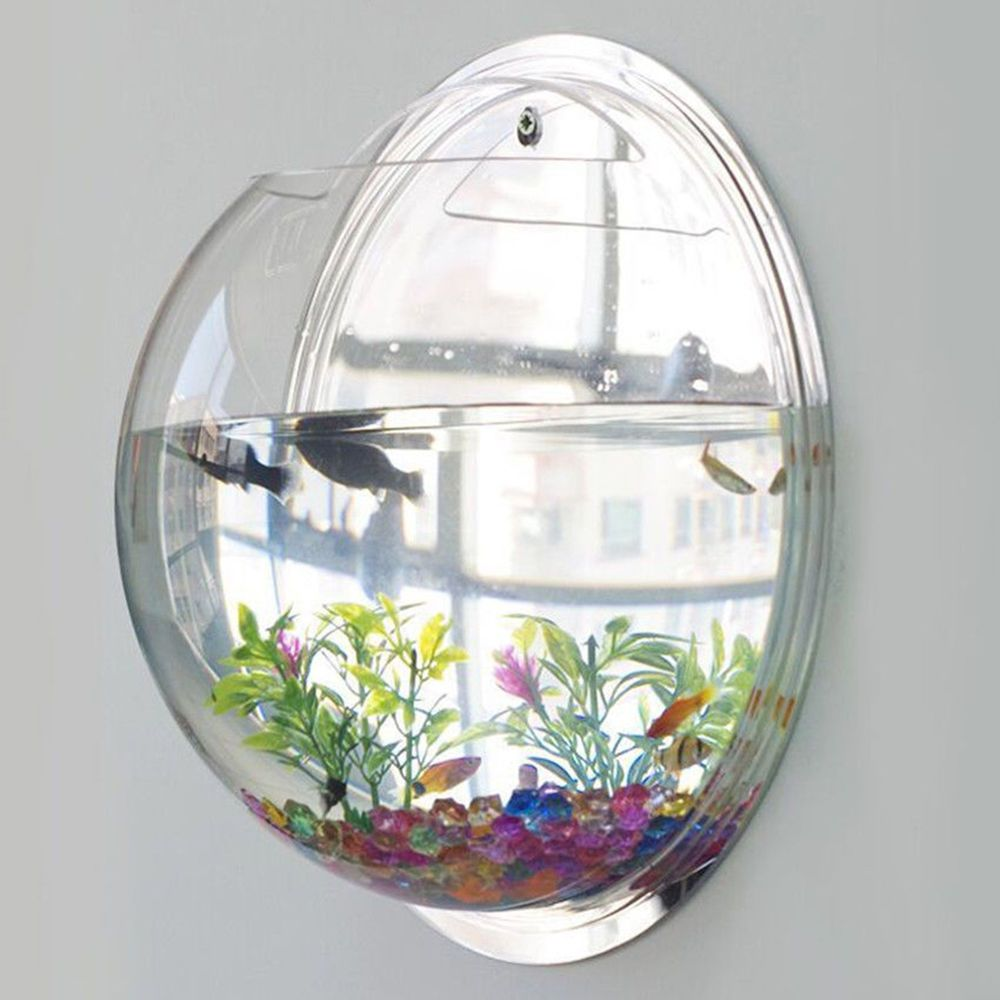 Betta Fish Bowl Decorations Wall Mount Hanging Fish Tank Aquarium Pot Bowl Bubble Aquarium