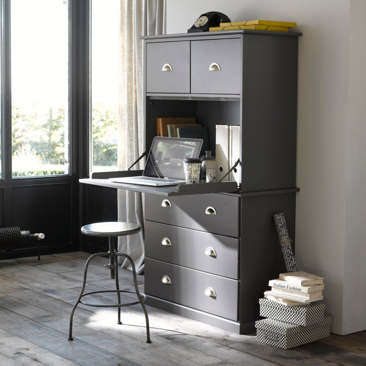 Secr taire biblioth que pin massif betta la redoute for Model de bureau secretaire
