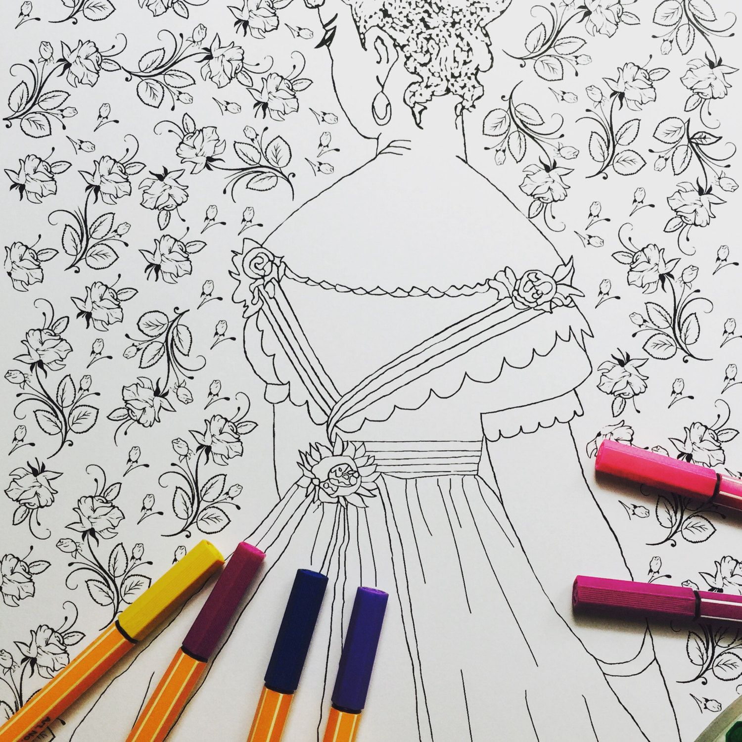 Printable coloring pages etsy - Adult Coloring Page Printable Coloring Page Victorian Lady Coloring Page By Emptyingtheattic On Etsy