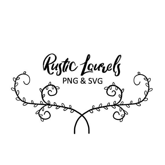 Photo of RUSTIC FLORAL LAURELS, hand drawn wreaths, doodle clipart, floral wreaths, rustic, drawn wreaths, PNG, SVG, vector wreaths, wedding, laurels
