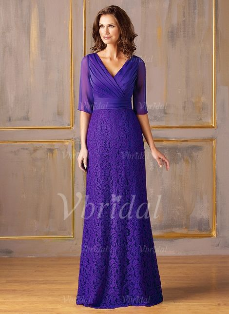 Mother of the Bride Dresses - $158.09 - Sheath/Column V-neck Floor-Length Chiffon Lace Mother of the Bride Dress With Ruffle Lace Appliques Lace (0085059786)