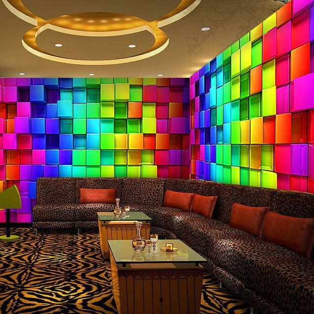 Semicircular Ktv Room Interior Design: Custom 3D Stereoscopic Colorful Cube Plaid Murals