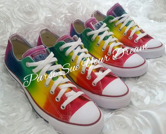 4f32348428ec Custom Tie Dye Converse - Made To Order - Rainbow Design Tie Dye Theme - Custom  Rainbow Tie Dye Conv