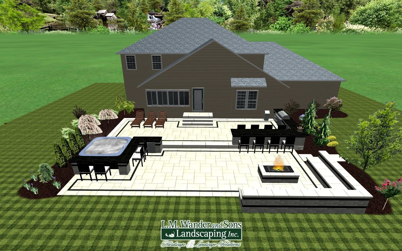 2 tiered Paver patio design with outdoor kitchen, Hot tub with ...