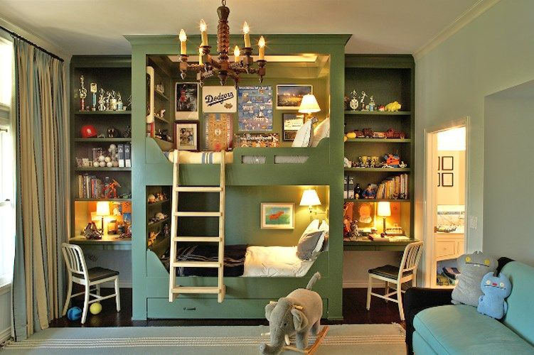 building bunk beds into the wall creates ample space for kids to play ideas for kids rooms. Black Bedroom Furniture Sets. Home Design Ideas