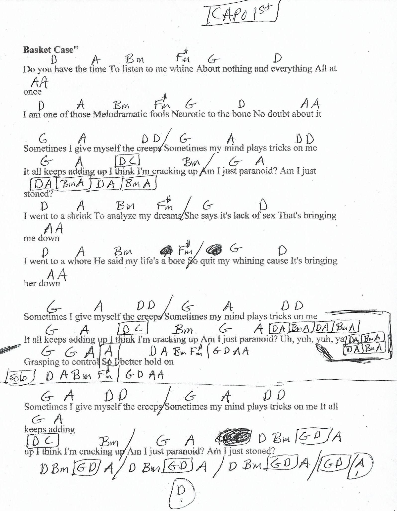 Basket Case Green Day Guitar Chord Chart Capo 1st Fret Green