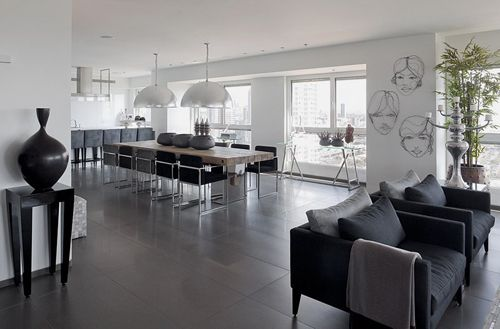 Gray Living Room Tiles White Walls Black Chairs