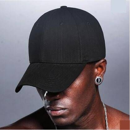 Plain black striped baseball cap for men UV protection sun hats ... d7b47b427d8