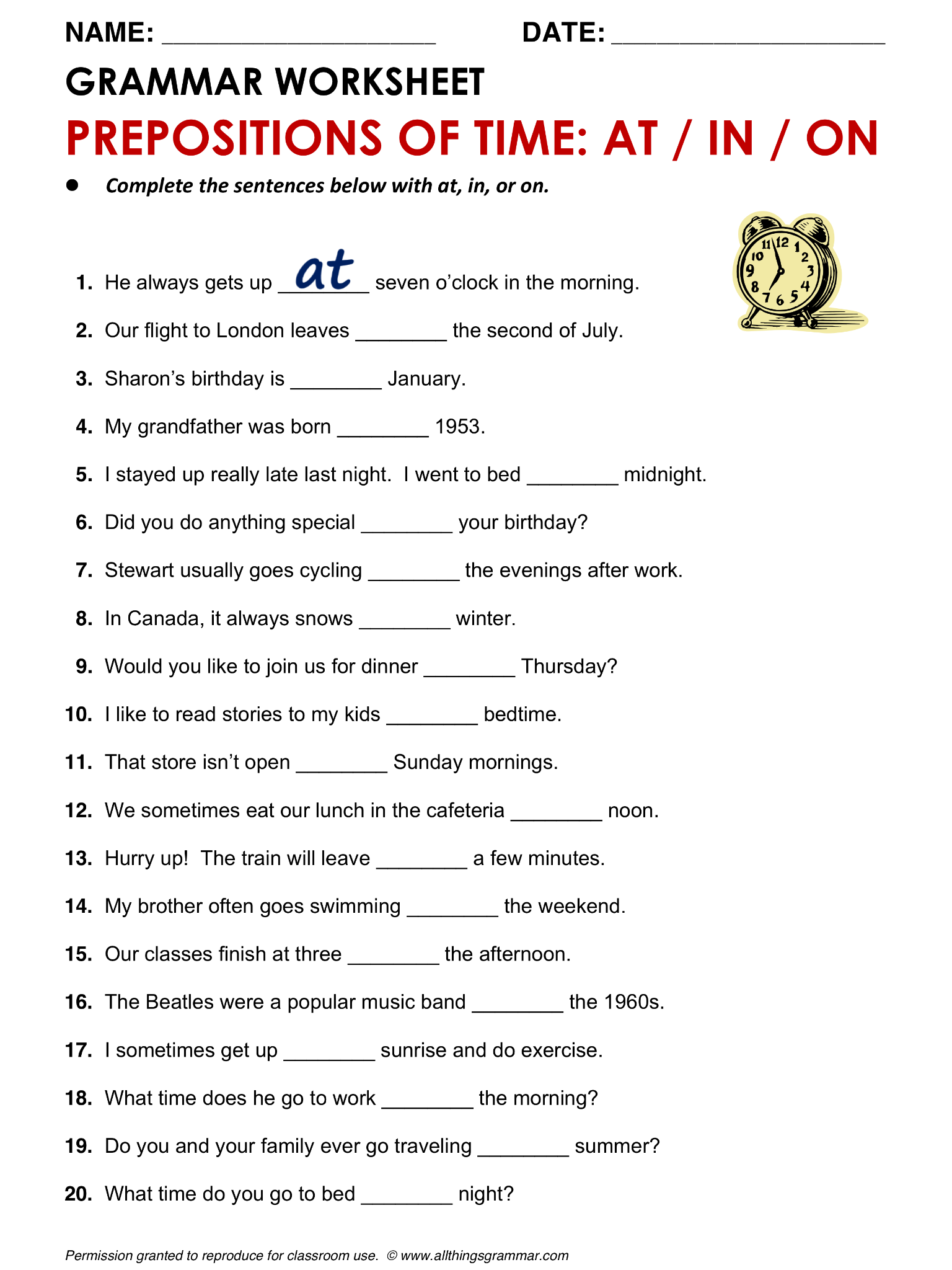 English Grammar Prepositions Of Time At In On