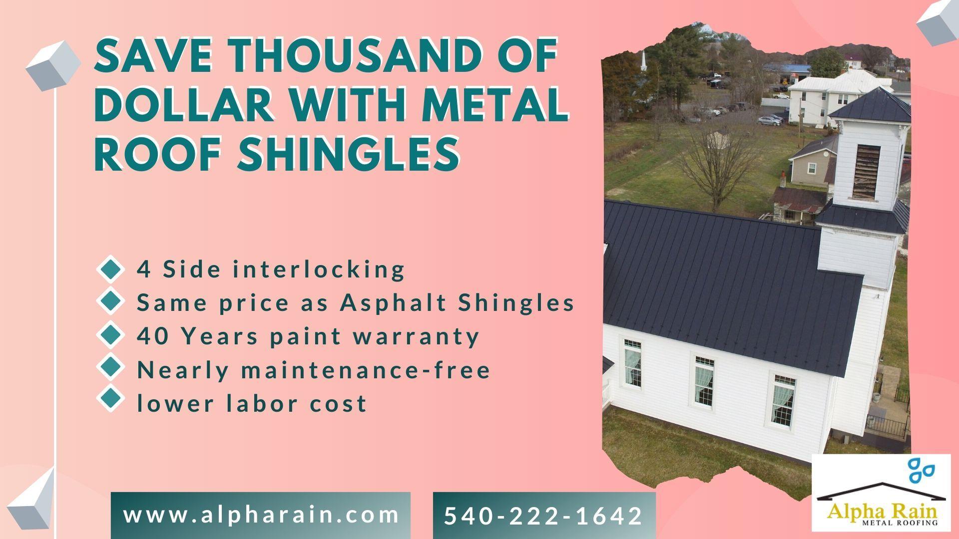 Alpha Rain Offers Metal Shingle At Same Price As Asphalt In 2020 Metal Shingles Metal Shingle Roof Shingling