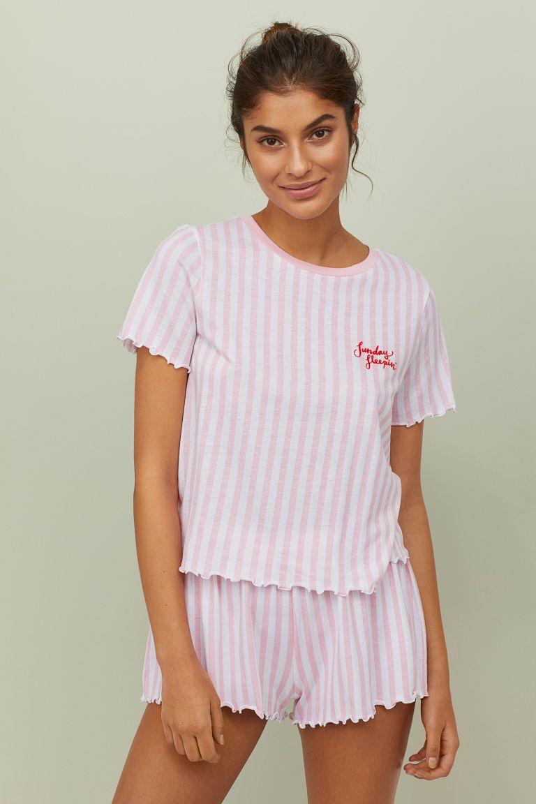 Pyjamas med topp och shorts - Rosa Vitrandig - DAM  5662c45263adf