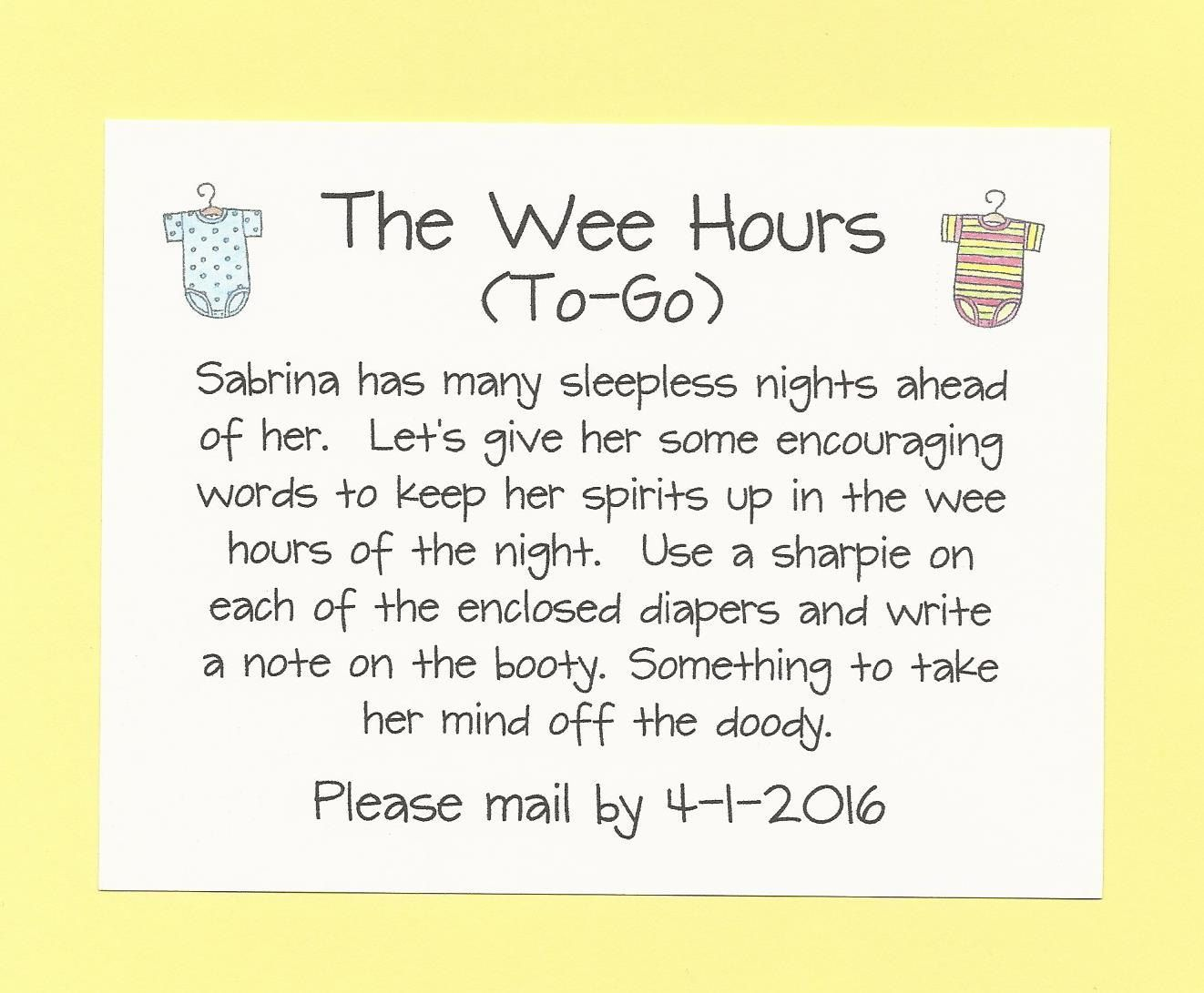 The Wee Hours To Go   Long Distance Baby Shower Game   Cute U0026 Funny Diaper  Messages   Onesie Baby Shower Theme