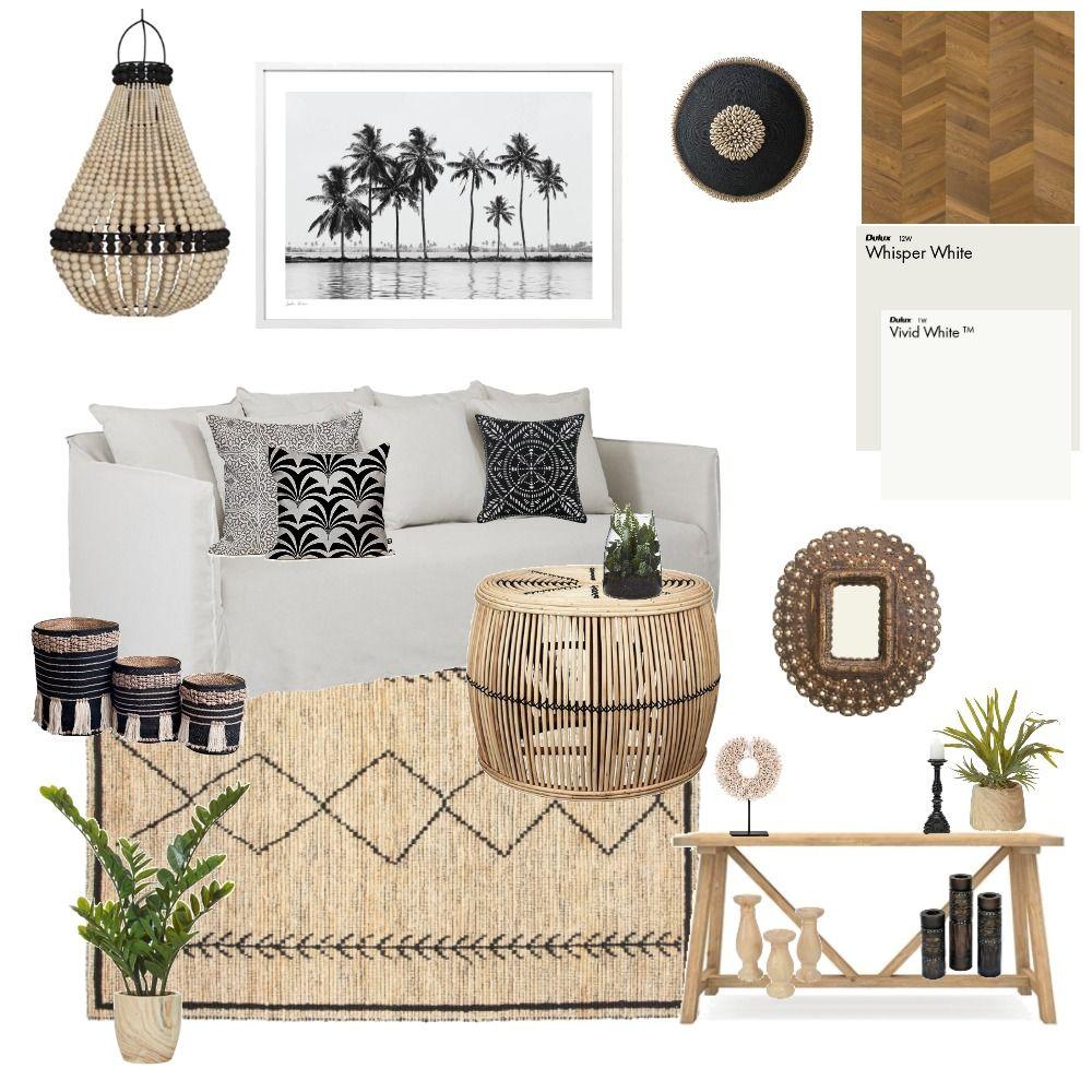 Boho Hamptons Coastal Living Room Mood Board #coastallivingrooms