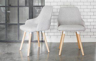 Set Of Two Vienna Grey Fabric Dining Chairs With Oak Legs