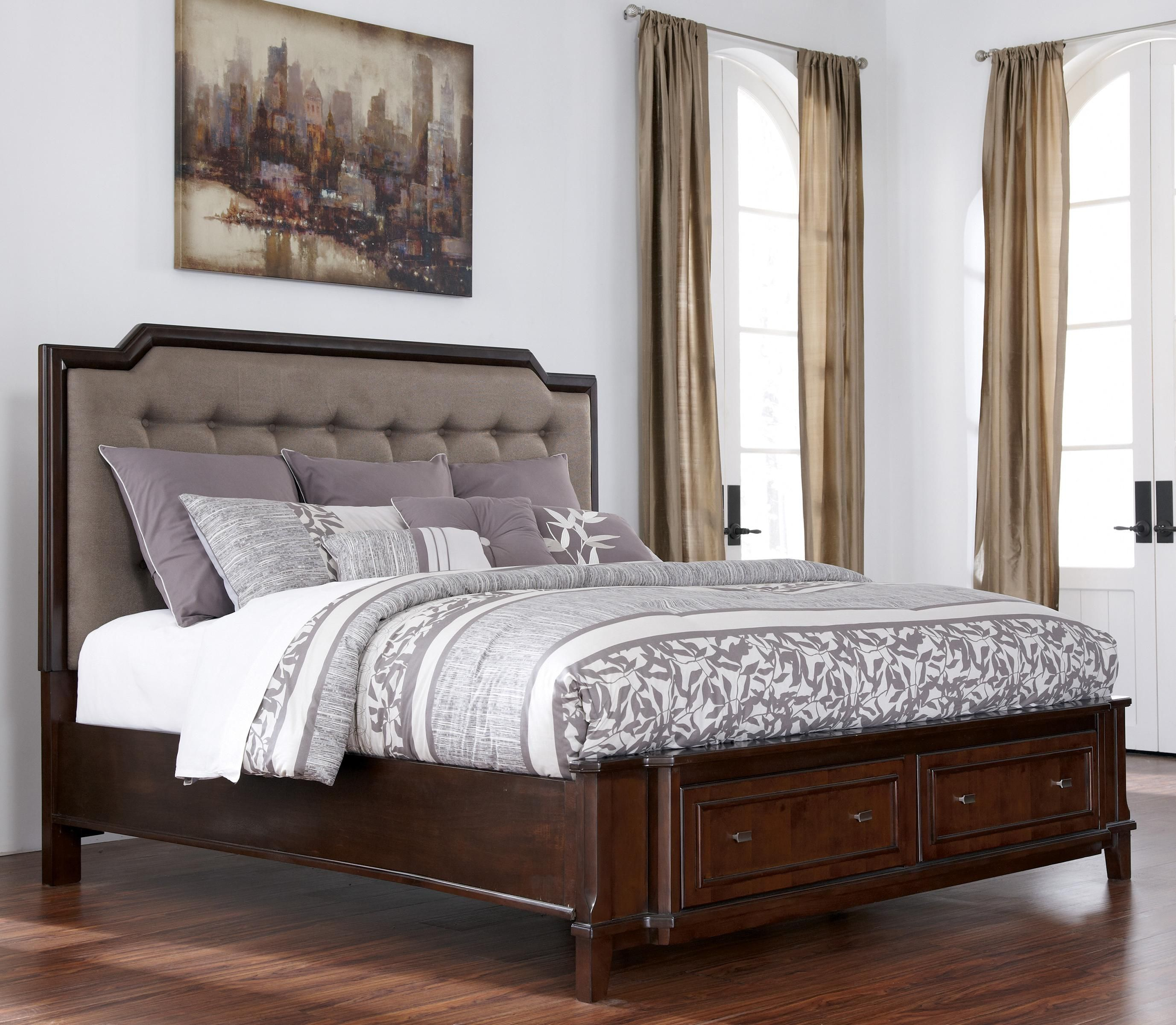 Larimer King Upholstered Storage Bed By Ashley Millennium And A Padded Headboard