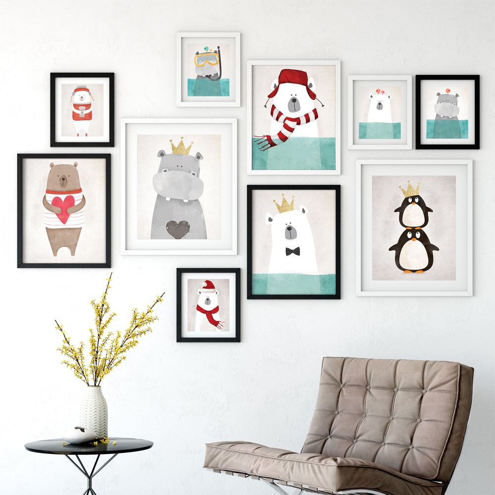 Modern Nordic Kawaii Bear Hippo Penguin Animals Cartoon Canvas Painting Art Print Poster Nursery Wall Paintings Home Decor In Calligraphy From