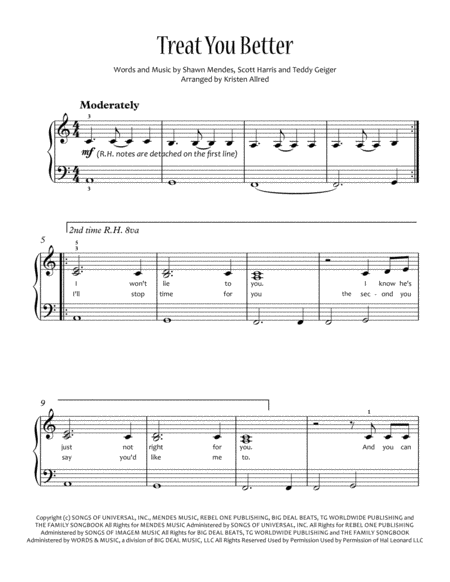 Treat You Better Shawn Medes Easy Piano Solo With Lyrics Sheet Music Purchase Here Http Www Shee Sheet Music Digital Sheet Music Treat You Better Shawn