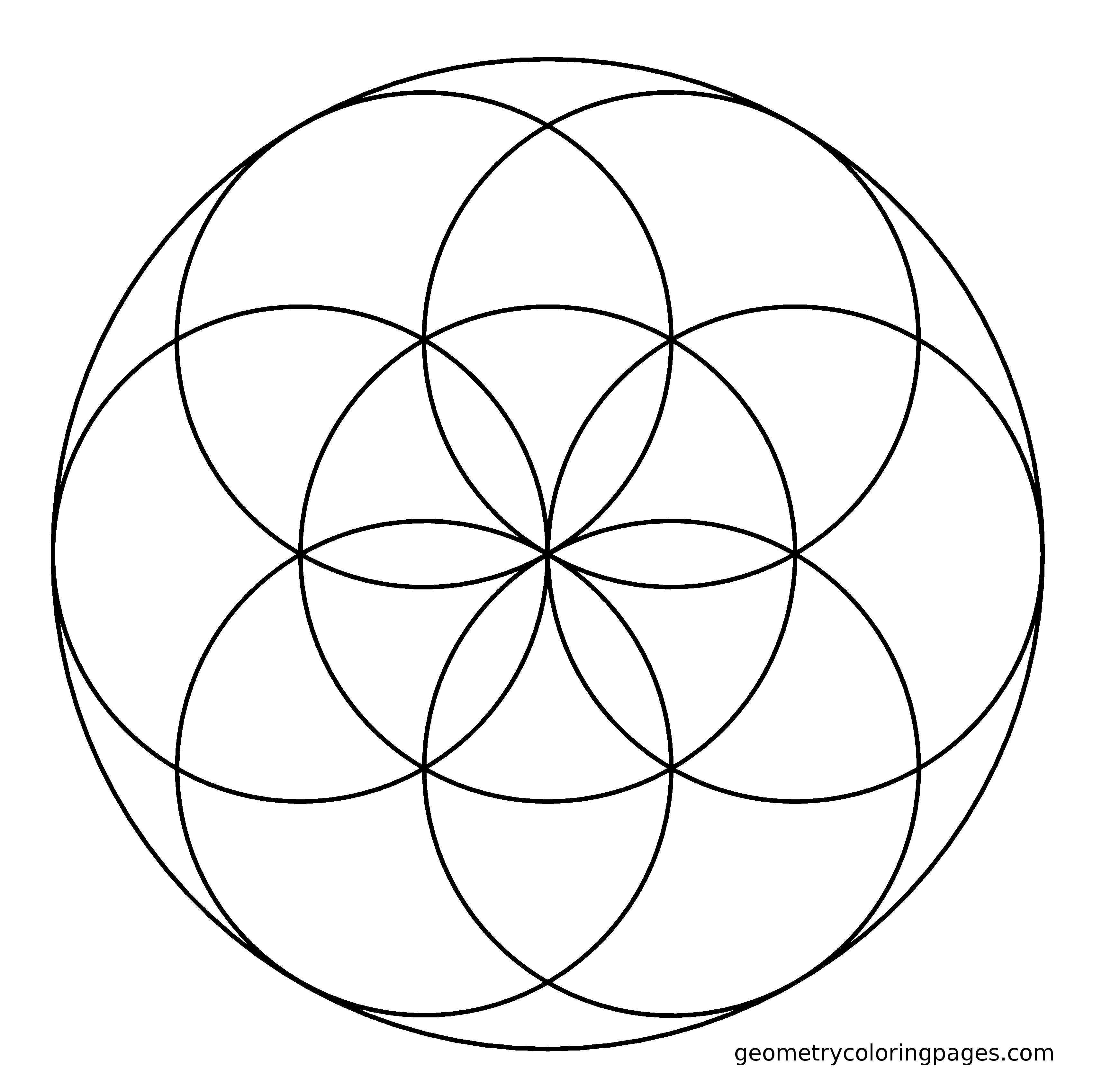 Sacred Geometry Coloring Page Seed Adult Coloring Books