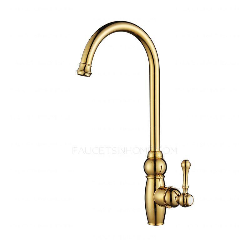 Luxury Golden High Arc Rotate Brass Kitchen Sink Faucets Kitchen Sink Faucets Brass Kitchen Sink Faucet