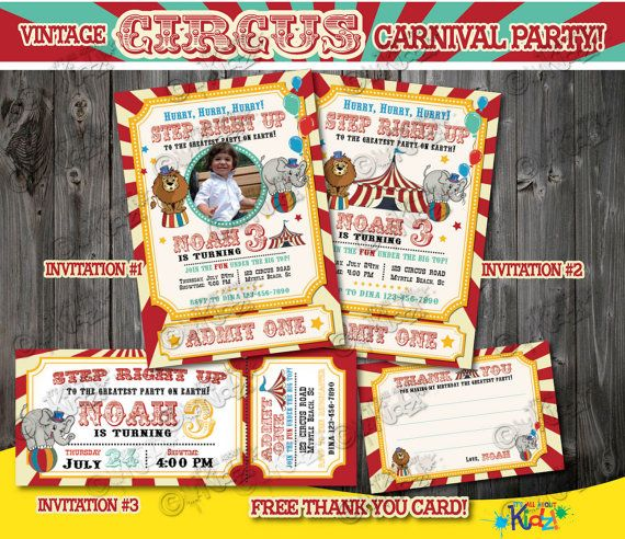 Circus Invitation Vintage Circus Birthday By Itsallaboutkidz