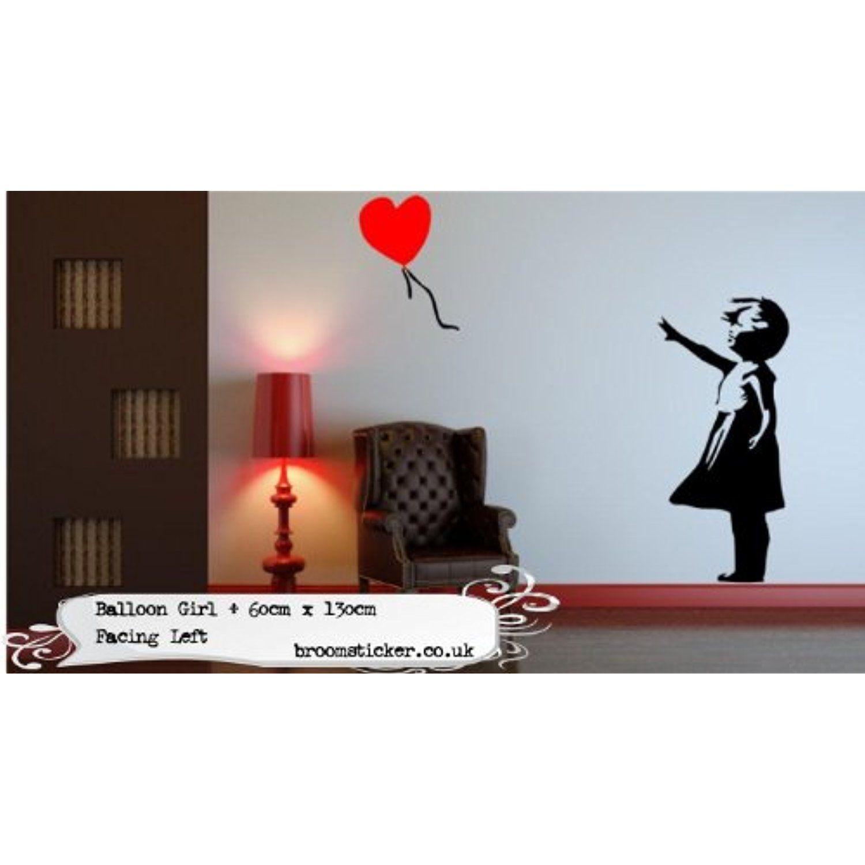 Banksy Balloon Girl Wall Sticker 60x130cm Facing Left By