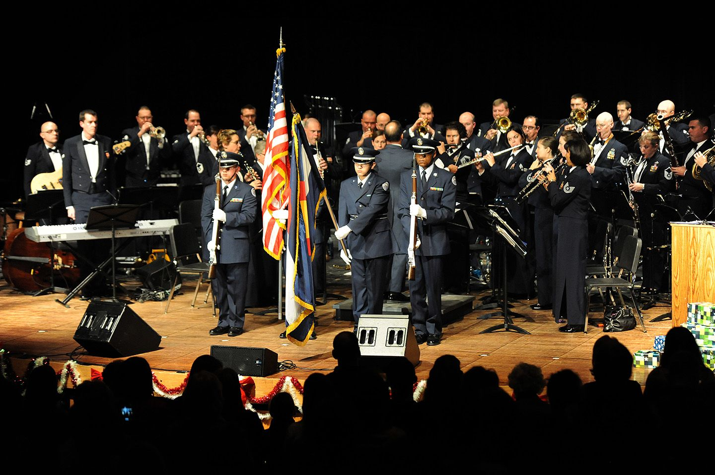 Air Force Junior ROTC cadets display the colors during a U
