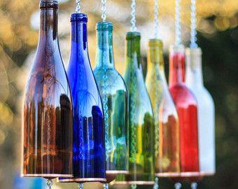 Wine Bottle Wind Chime Garden Decor Gift for by BottlesUncorked