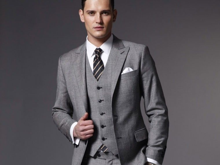 Grey Tweed Three Piece Suit - The Associate Tweed Three Piece Suit ...