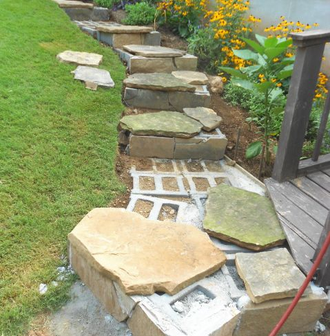 Building Stone Steps With A Retaining Wall Part Two Garden Stairs Patio Landscaping Patio Stones