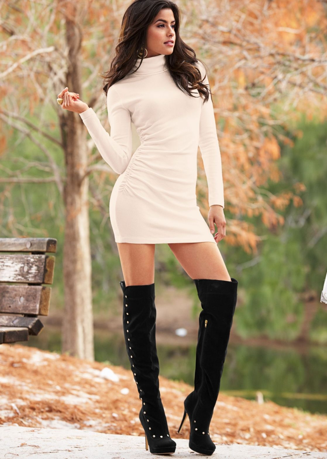 Sexy Sweater Dresses with High Boots