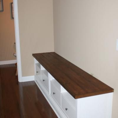 Make Your Own Storage Sitting Cabinet By Putting Together 2 Ikea Media Cabinets Diy