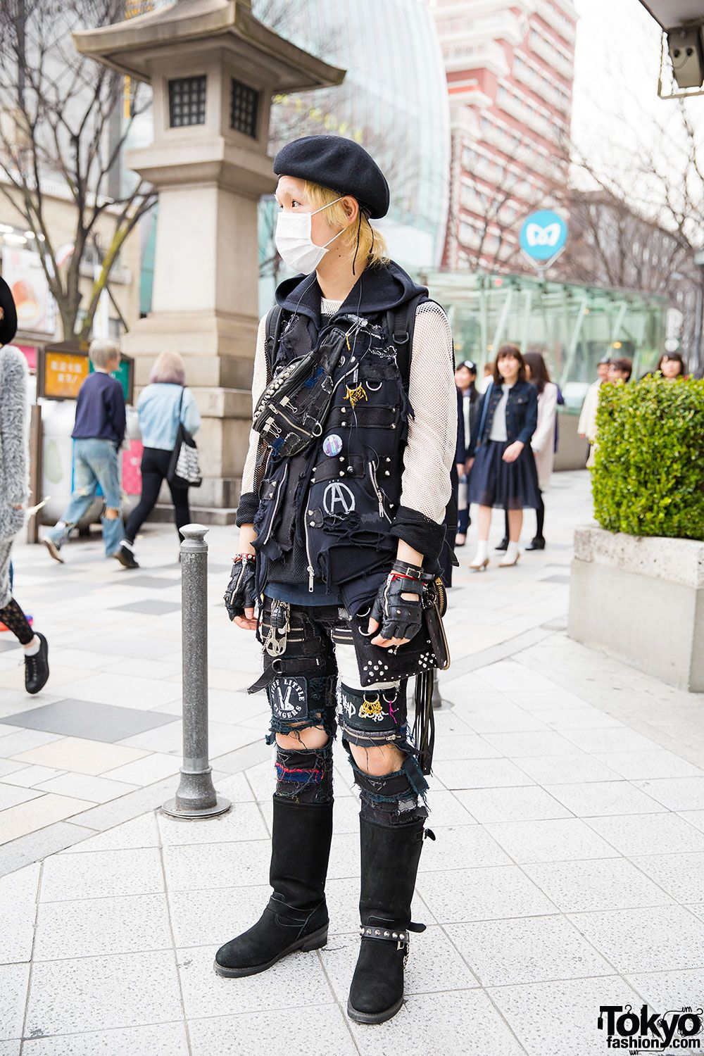 Harajuku Guy in Patched Punk Fashion w/ Beret & Boots  Punk