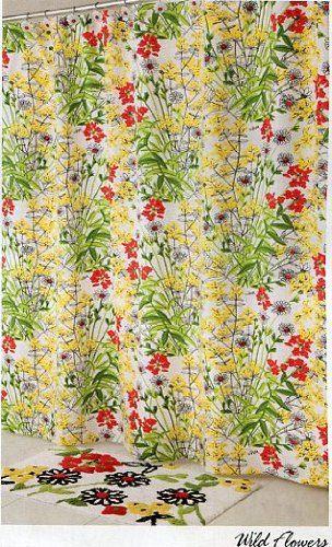 Vera Bradley Wild Flowers Fabric Shower Curtain 72 X 70 Vera