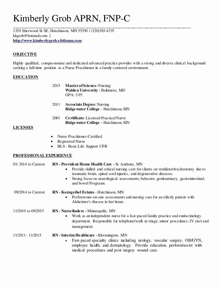 Family Nurse Practitioner Resume Beautiful Family Nurse