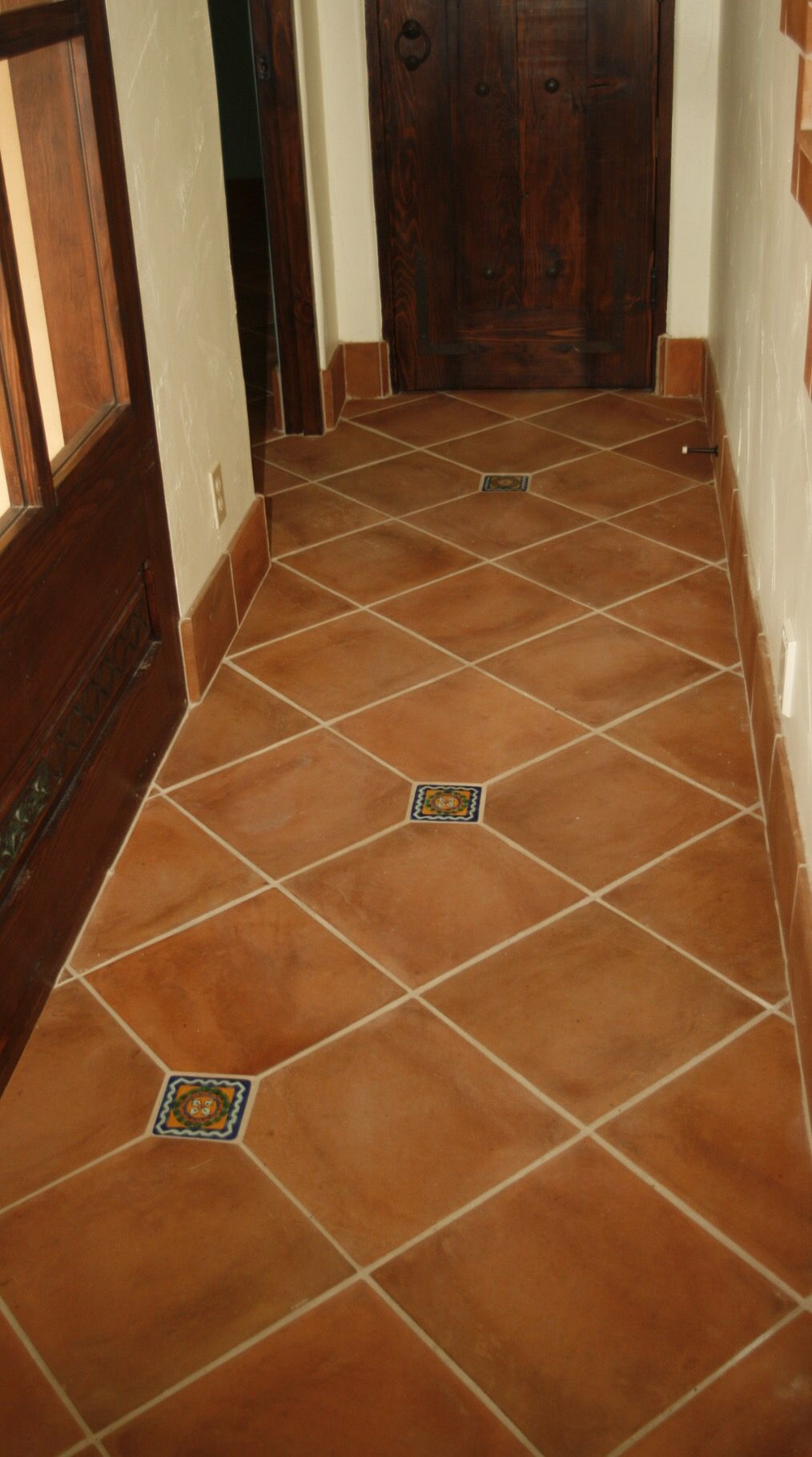 "Decorative Tile Inserts Magnificent 13"" X 13"" High Fired ""spanish Cotto"" Clay Floor Tile Installed On Inspiration Design"