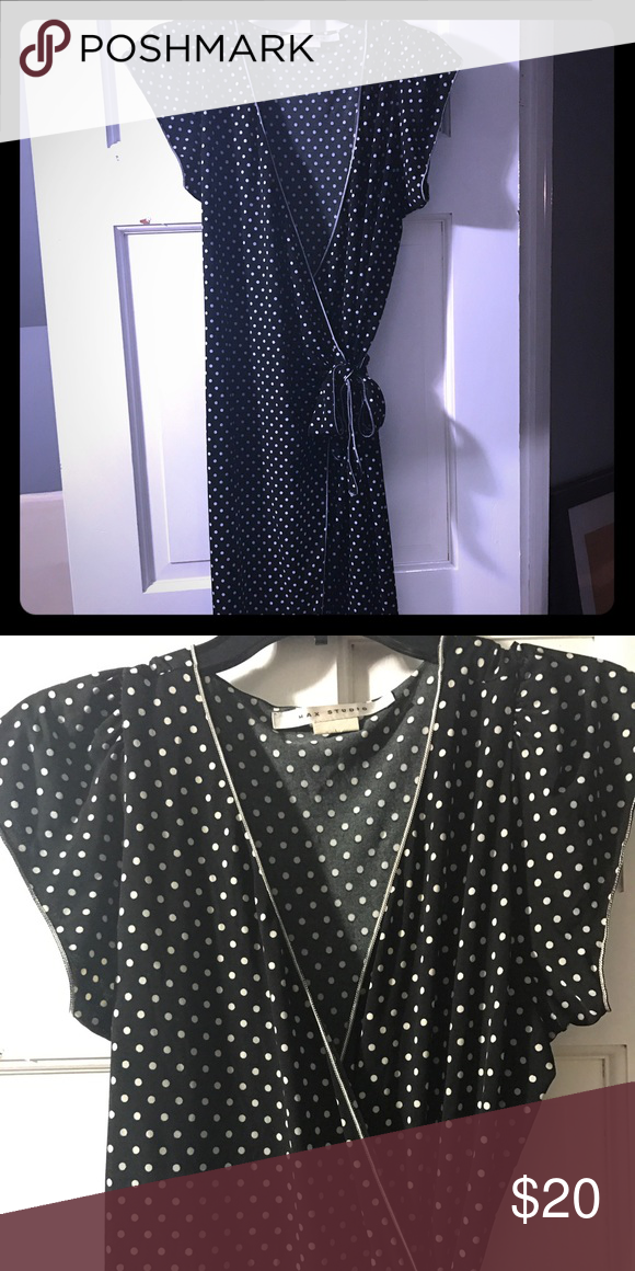 """Polka dot wrap dress This classic black and white polka dot wrap dress is a must for any office fashionista. Super flattering! Hits just below knee on 5'6"""". Max Studio Dresses"""