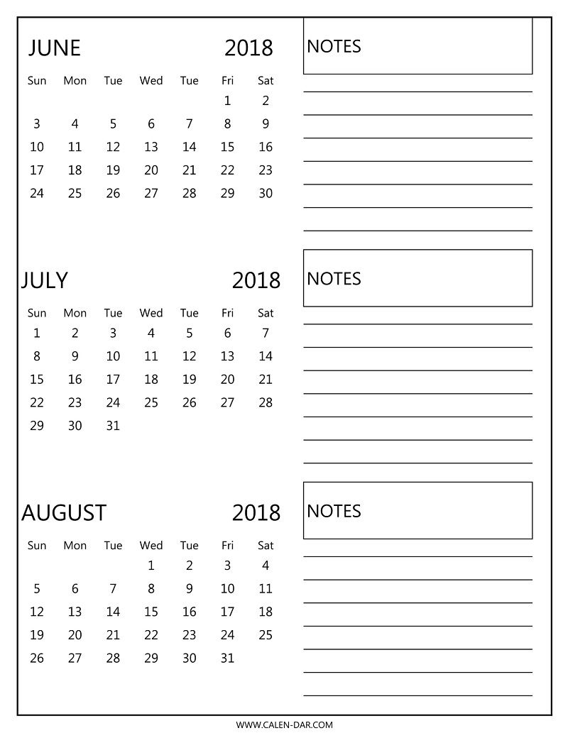 free 3 monthly calendar 2018 june july august print
