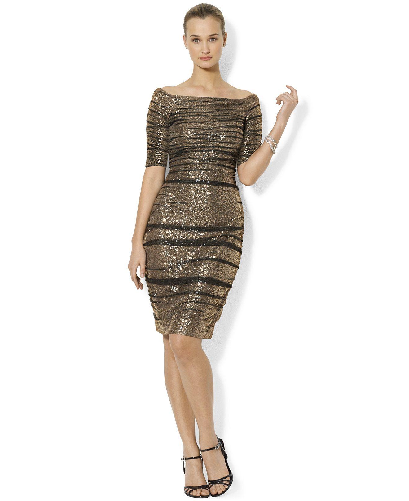 fc5d19d35 Lauren Ralph Lauren Sequined Boat-Neck Dress - Dresses - Women - Macy s