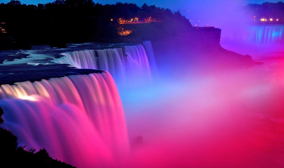 Pink Passion: The vibrant colours make the water look like silk and the spray like clouds of light. Niagara Falls.