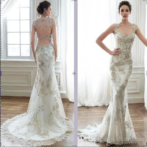 Backless Mermaid Wedding Dresses with Crystals