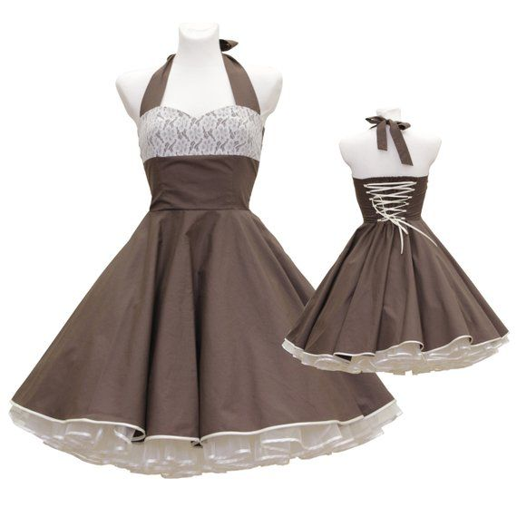 50's Vintage Style Dress Brown Creme Lace Tailor Custom