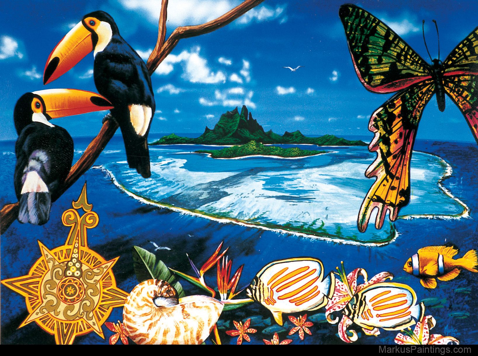 Tropical Artwork Tropical Painting Art Collage Fiji Bali Tahiti Polynesia