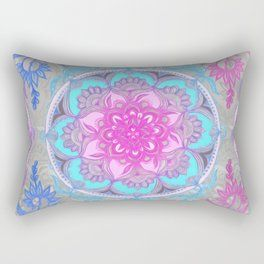 Pink, Purple and Turquoise Super Boho Doodle Medallions Pillow Sham by micklyn
