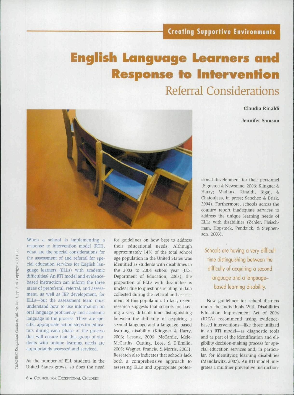 Article On Rti Considerations For Ells