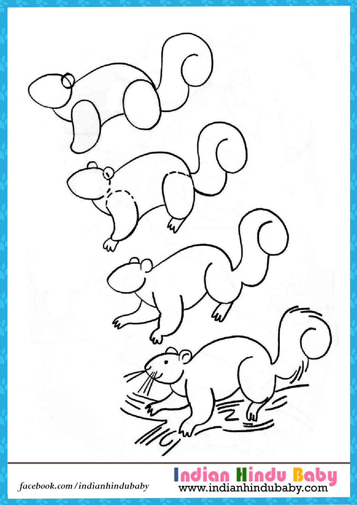 Teach your kid to draw Squirrel with simple drawing tips https
