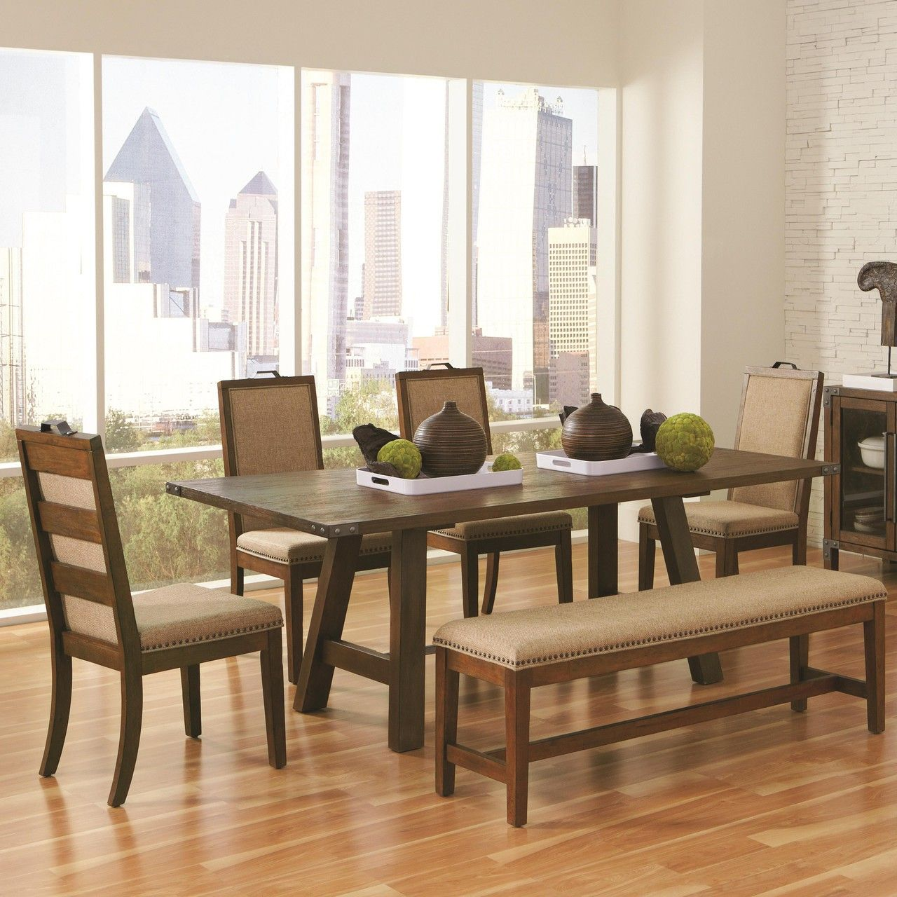 Phenomenal Arcadia 6Pc Weathered Acacia Dining Table With Chairs Ncnpc Chair Design For Home Ncnpcorg