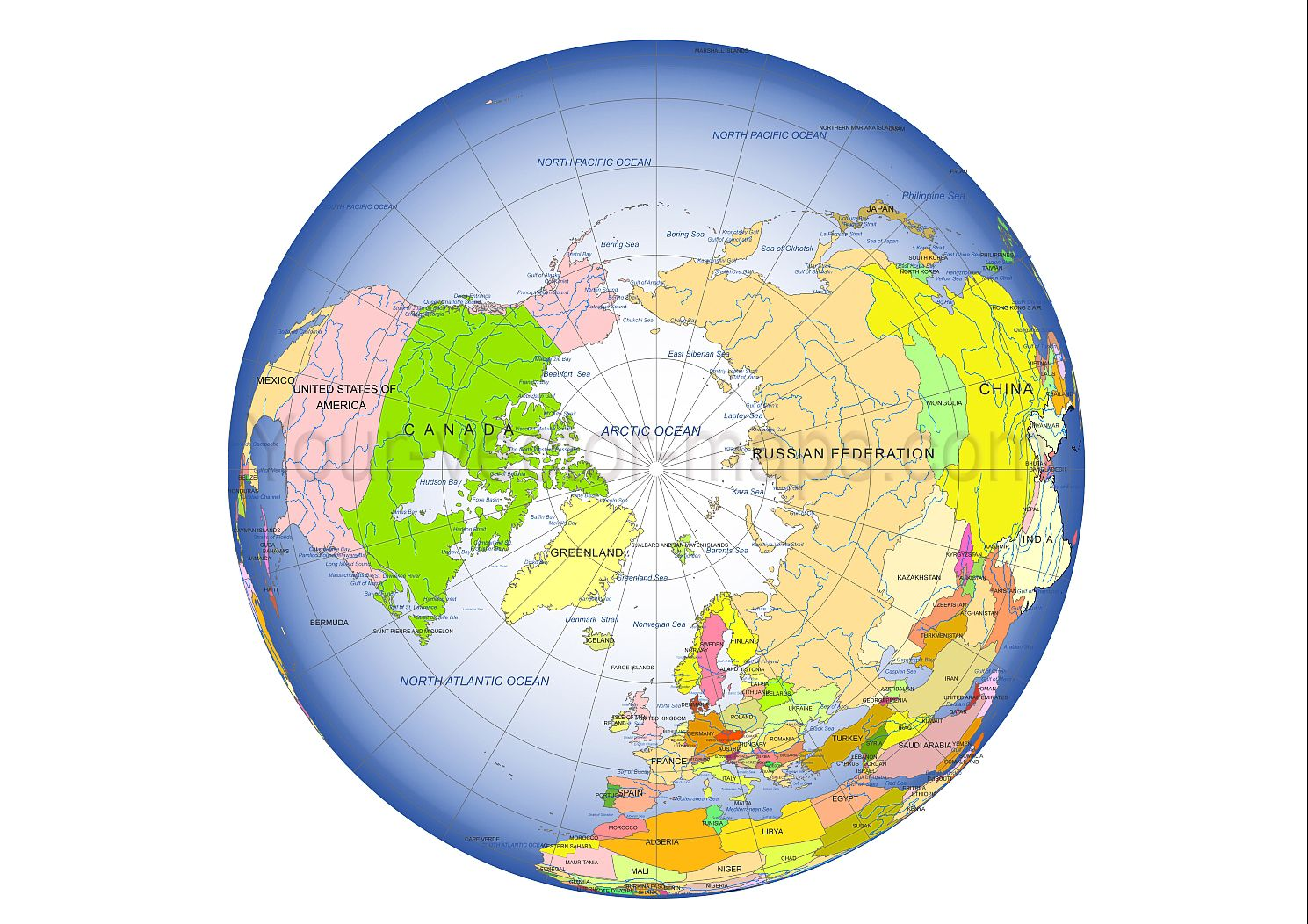 Globe Map Of The World.Globe From Space North Pole Centered Colored Globe Map Country