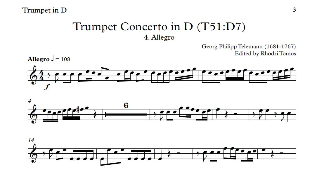 All Music Chords haydn trumpet concerto sheet music : Telemann TWV51:D7 Trumpet Concerto In D Play Along Mp3 & Solo ...