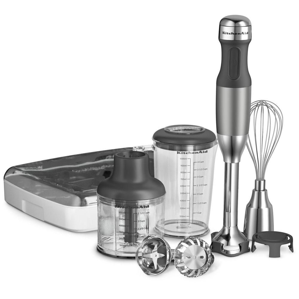 Kitchenaid 5 Speed Silver Immersion Blender With Whisk And Chopper Attachments Khb2561cu The Home Depot In 2020 Immersion Hand Blender Hand Blender Kitchen Aid